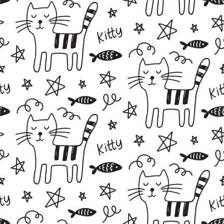 Vector Cat seamless pattern