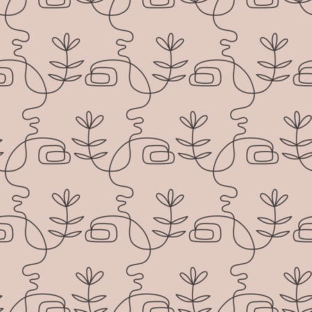 Abstract female faces group seamless pattern texture 向量圖像