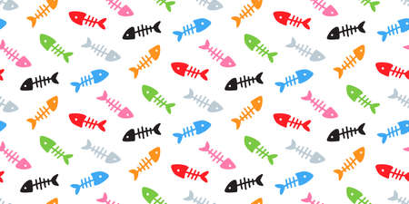 Skeletons of fishes, colourful Fish bones seamless pattern