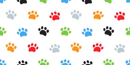 Dog Paw, Cat Paws Seamless Pattern 向量圖像