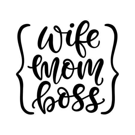 Wife Mom Boss T Shirt Design 向量圖像