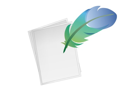 Feather and papers drawn by illustrator Vector