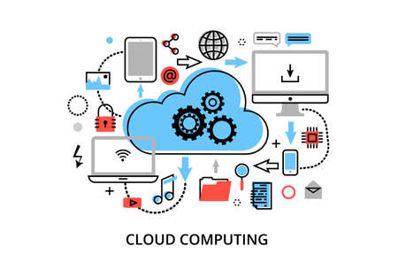 cloud computing technologies: Modern flat thin line design illustration, concept of cloud computing technologies, protect computer networks and remote data storage, for graphic and web design