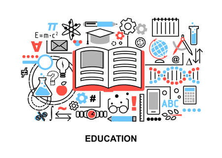 educational institution: Modern flat thin line design illustration, concept of education process, learning in educational institution and items of study equipment, for graphic and web design Illustration