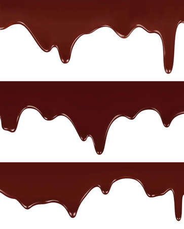 melted chocolate: Realistic illustration of melted chocolate dripping on white background