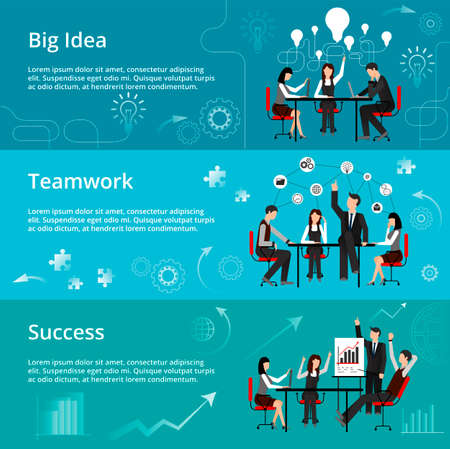 techology: Modern flat thin line design vector illustration, concepts of creative big idea, teamwork process and success in business, for graphic and web design Illustration