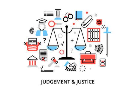 Moderne vlakke dunne lijn ontwerp vector illustratie, concepten van het oordeel proces, bescherming van de rechten en verordeningen van rechtvaardigheid van de mens, voor grafische en webdesign