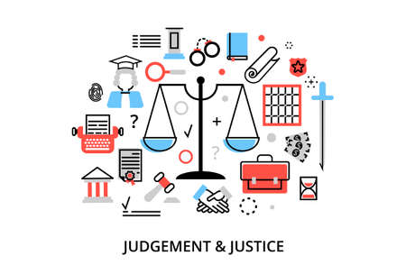 Modern flat thin line design vector illustration, concepts of judgment process, protection of human rights and ordinances of justice, for graphic and web design
