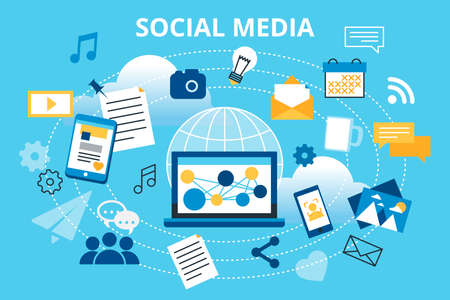 posting: Modern flat design vector illustration, concept of social media, social networking, web communtity and posting news for graphic and web design