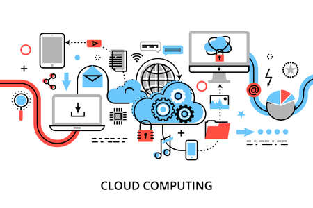 cloud computing technologies: Modern flat thin line design vector illustration, concept of cloud computing technologies, protect computer networks and remote data storage, for graphic and web design