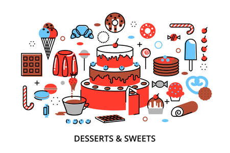 Modern flat thin line design vector illustration, concept of sweet desserts, cake and chocolate, for graphic and web design