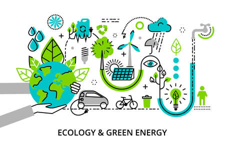 Modern flat thin line design vector illustration, infographic concept of ecology problem, generation and saving green energy  for graphic and web design Vettoriali