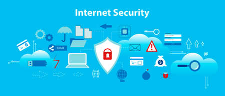 Modern flat design vector illustration, infographic concept of internet security, secure online and data protection, for graphic and web design Illustration