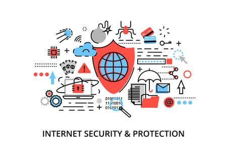 モダンなフラット細い線デザイン ベクトル イラスト、インター ネット セキュリティ、ネットワーク保護、グラフィックや web デザインのための安