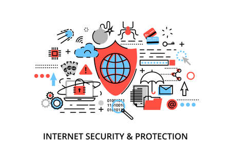 ddos: Modern flat thin line design vector illustration, infographic concept of internet security, network protection and secure online payments, for graphic and web design