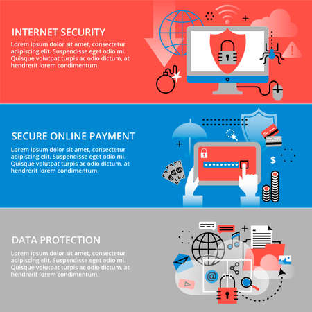 ddos: Modern flat thin line design vector illustration, infographic concepts of internet security, secure online and data protection, for graphic and web design Illustration