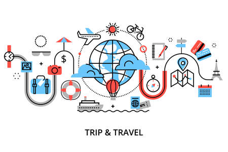 Modern flat thin line design vector illustration, concept of travelling around the world, journey and trip to other countries, for graphic and web design