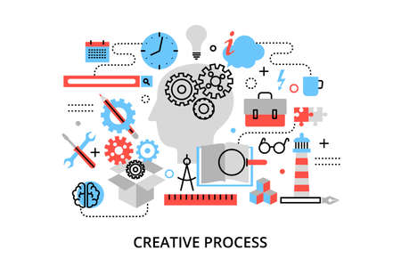 printed material: Modern flat thin line design vector illustration, concept of creative process, defining and research problem, for graphic and web design