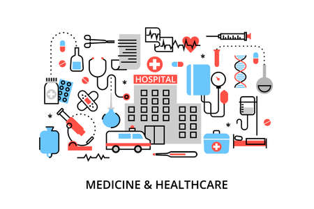 medicament: Modern flat thin line design vector illustration, concept of medicine and healthcare, first aid, medical equipment and medicament cure, for graphic and web design Illustration