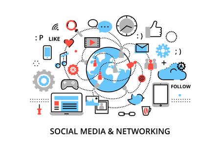 posting: Modern flat thin line design vector illustration, concept of social media, social networking, web communtity and posting news for graphic and web design