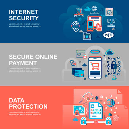 authentification: Modern flat thin line design vector illustration, infographic concept of internet security, network protection and secure online payments for graphic and web design