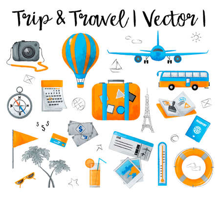 Watercolor design vector illustration, concept of travelling around the world, journey and trip to other countries, for graphic and web design Çizim