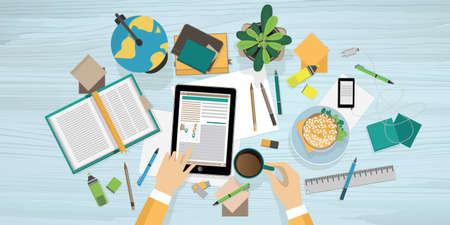 モダンなフラット デザイン ベクトル図、グラフィックや web デザインのための職場の教育プロセスの概念