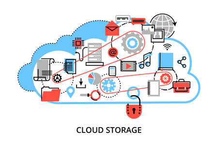 Modern flat thin line design vector illustration, concept of remote cloud data storage, cloud computing technologies and protect computer networks, for graphic and web design