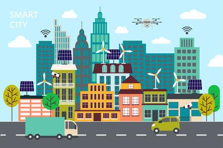 Moderne flache Linie Design, das Konzept der intelligenten Stadt, Technologien der Zukunft und städtische Innovationen für Grafik und Web-Design