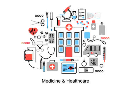 medicament: Modern flat thin line design illustration, concept of medicine and healthcare,  first aid, medical equipment and medicament cure, for graphic and web design