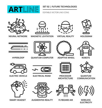 augmentation: Modern editable line icons set of future technologies and development innovations, for graphic and web design