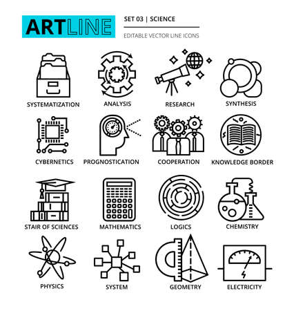 systematization: Modern editable line illustration, set of science icons, for graphic and web design