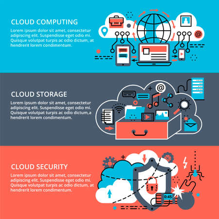 cloud computing technologies: Modern flat thin line design vector illustration, conceptual set of remote cloud data storage, cloud computing technologies and protect cloud networks, for graphic and web design