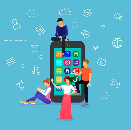 Vector flat design illustration of young people are standing near big smart phone and using own phones, on blue background Çizim