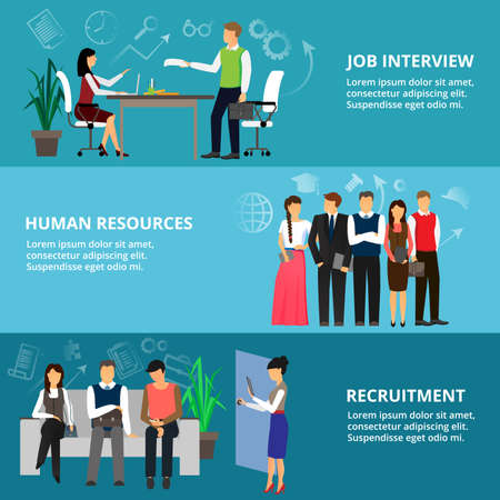 ceo: Modern flat thin line design vector illustration, concepts of job interview, human resources and recruitment, for graphic and web design