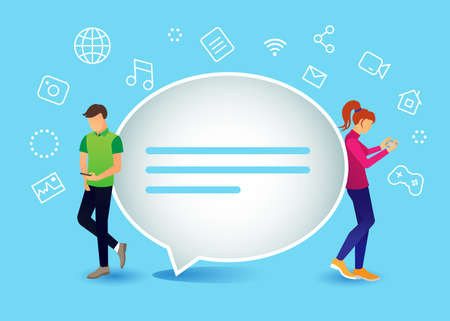Modern flat design vector illustration, live chat concept of young people using mobile smart phones for sending messages Illustration