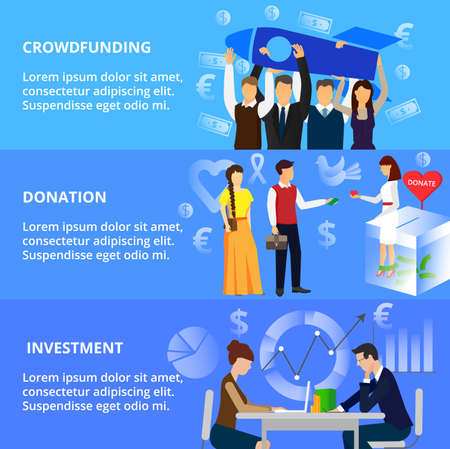 techology: Modern flat thin line design vector illustration, concepts of crowdfunding, donation process and investment for business, for graphic and web design Illustration