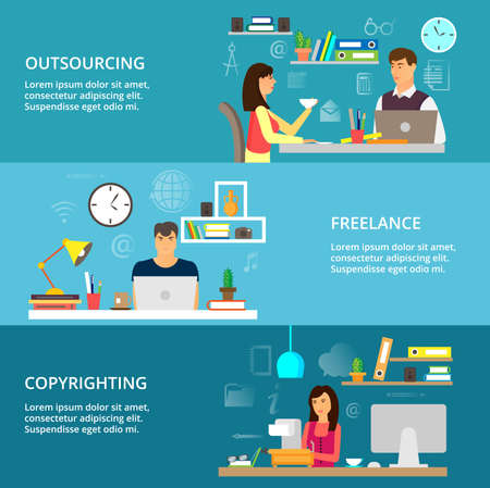 got: Modern flat thin line design vector illustration, concepts of outsourcing, freelance and copyrighting process, for graphic and web design Illustration