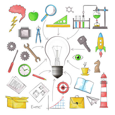 techology: Modern color pencils style vector illustration, concept of big idea in the form of bulb lamp with different objects, for graphic and web design