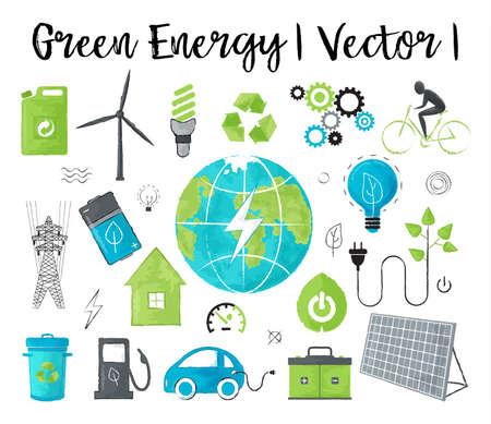 モダンな水彩デザイン ベクトル図、生態、グリーン エネルギー、省地球環境問題、グラフィックや web デザインのためのコンセプト