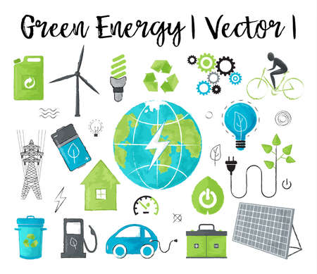 Modern watercolor design vector illustration, concept of ecology, green energy and saving earth environment problem, for graphic and web design
