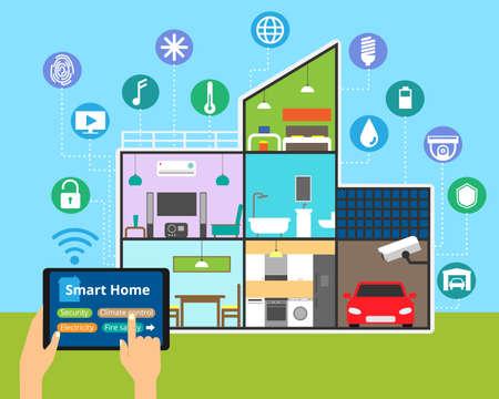 モダンなフラット デザインのベクトル図、任意家システムの制御技術スマートハウスの概念: 照明、セキュリティ、ビデオ監視  イラスト・ベクター素材