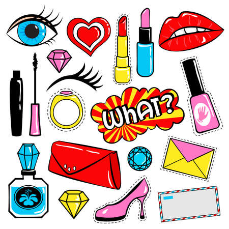 Collection of stickers and badges in 80s comic style, such as lips, heart, speech bubbles, cosmetics and other elements. Vector illustration isolated on white background