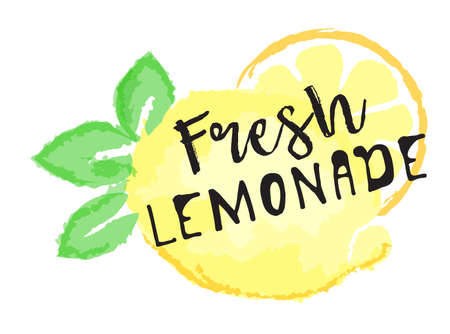 Lemon fruit label and sticker - Fresh Lemonade. Vector illustration in watercolor style, for graphic and web design