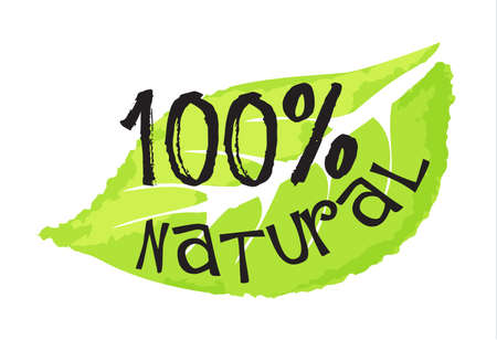 化粧品・美容ラベル - 100% 天然。グラフィックや web デザインのための水彩風のベクトル図