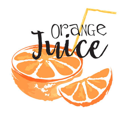 Orange fruit label and sticker. Vector illustration in watercolor style, for graphic and web design