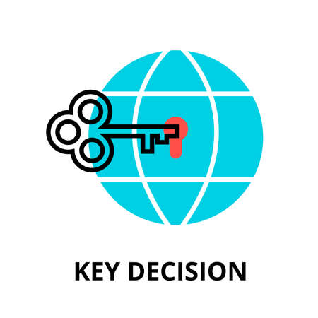 Modern flat editable line design vector illustration, key decision icon, for graphic and web design