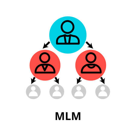 Modern flat editable line design vector illustration, multilevel marketing icon, for graphic and web design