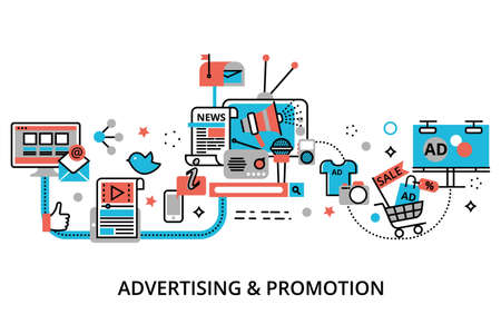 モダンなフラット細い線デザイン ベクトル図、広告、グラフィックや web デザインのためのマーケティングやプロモーション プロセスの概念