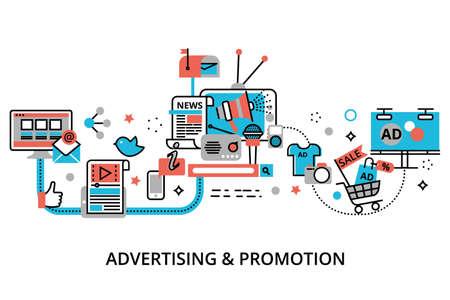 Illustration vectorielle de design plat mince ligne moderne, concept de processus de publicité, de marketing et de promotion, pour la conception graphique et web Vecteurs